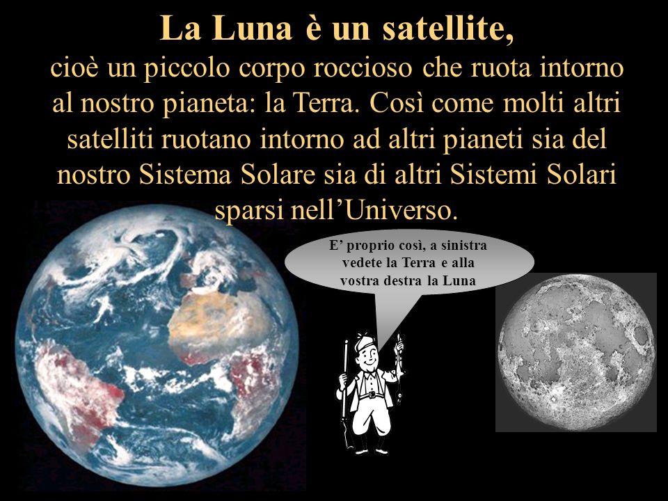 La Luna è un satellite, cioè un piccolo corpo roccioso che ruota intorno al nostro pianeta: la Terra.