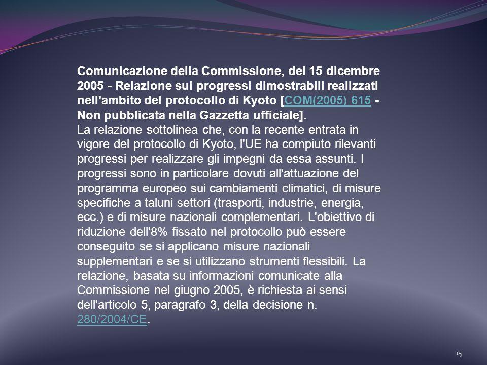 15 Comunicazione della Commissione, del 15 dicembre 2005 - Relazione sui progressi dimostrabili realizzati nell'ambito del protocollo di Kyoto [COM(20