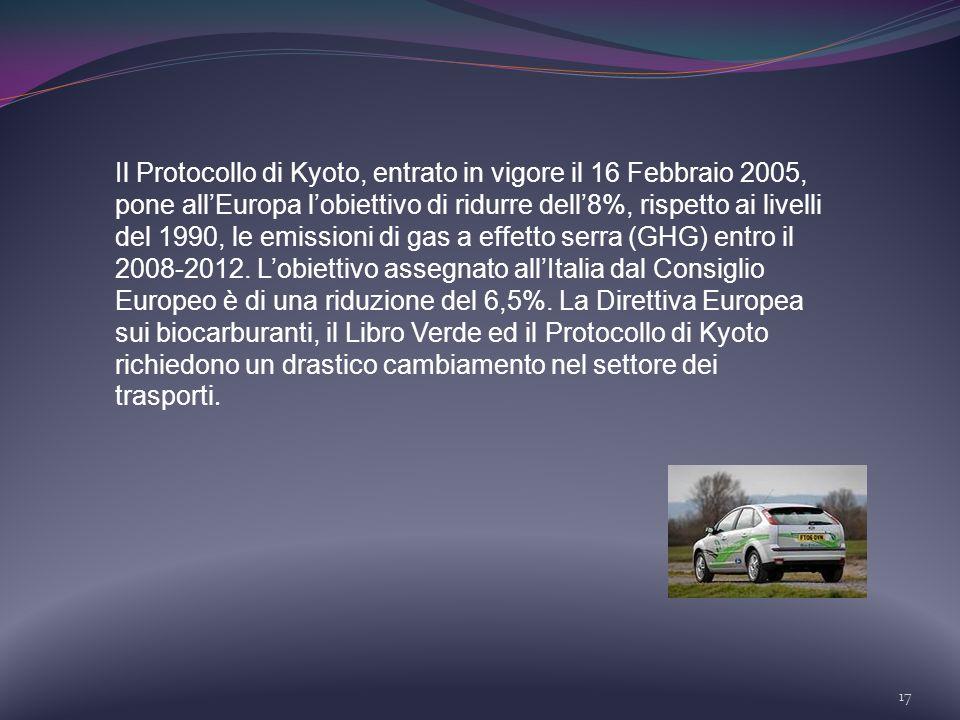 17 Il Protocollo di Kyoto, entrato in vigore il 16 Febbraio 2005, pone allEuropa lobiettivo di ridurre dell8%, rispetto ai livelli del 1990, le emissi