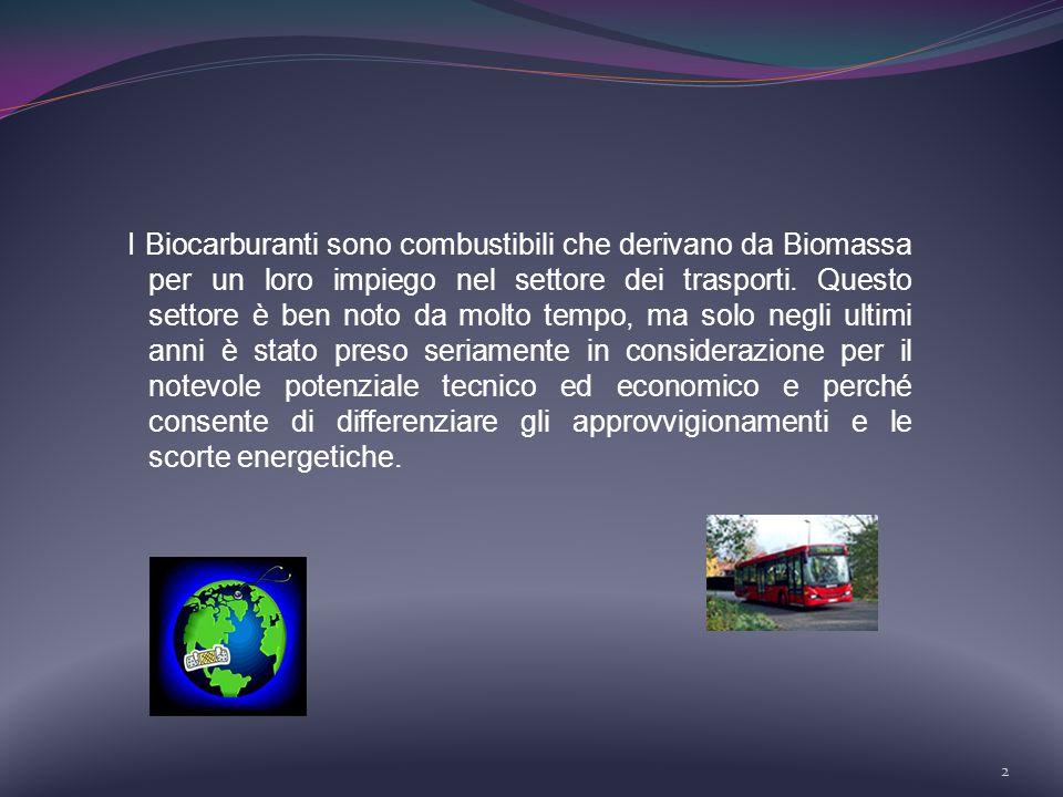 2 I Biocarburanti sono combustibili che derivano da Biomassa per un loro impiego nel settore dei trasporti. Questo settore è ben noto da molto tempo,