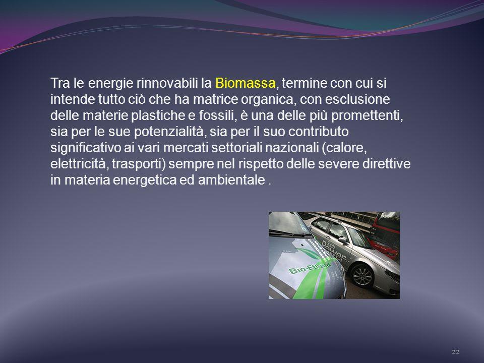 22 Tra le energie rinnovabili la Biomassa, termine con cui si intende tutto ciò che ha matrice organica, con esclusione delle materie plastiche e foss
