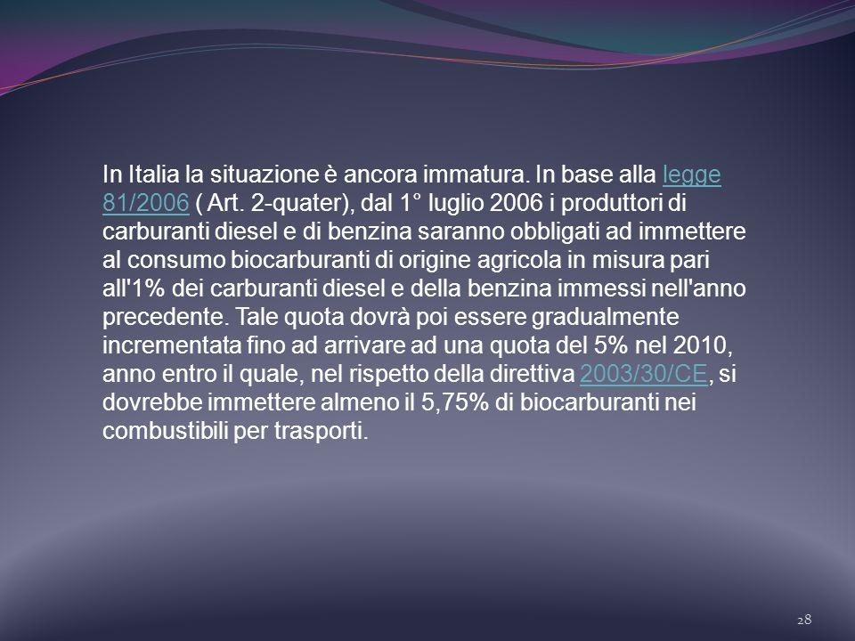 28 In Italia la situazione è ancora immatura. In base alla legge 81/2006 ( Art. 2-quater), dal 1° luglio 2006 i produttori di carburanti diesel e di b