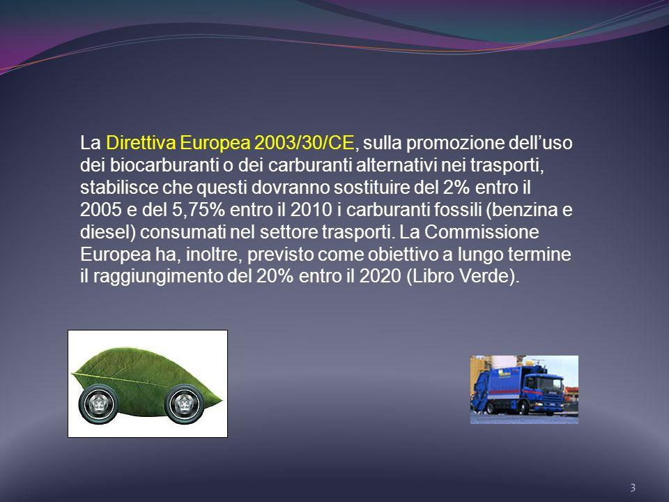 3 La Direttiva Europea 2003/30/CE, sulla promozione delluso dei biocarburanti o dei carburanti alternativi nei trasporti, stabilisce che questi dovran
