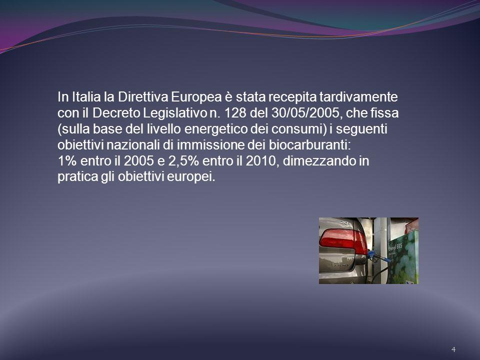 4 In Italia la Direttiva Europea è stata recepita tardivamente con il Decreto Legislativo n. 128 del 30/05/2005, che fissa (sulla base del livello ene