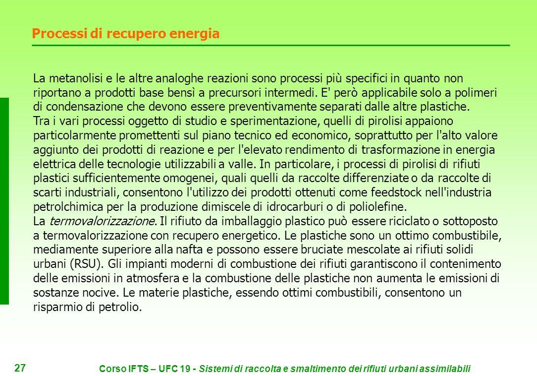 26 Corso IFTS – UFC 19 - Sistemi di raccolta e smaltimento dei rifiuti urbani assimilabili Processi di recupero energia Pirolisi: scomposizione delle