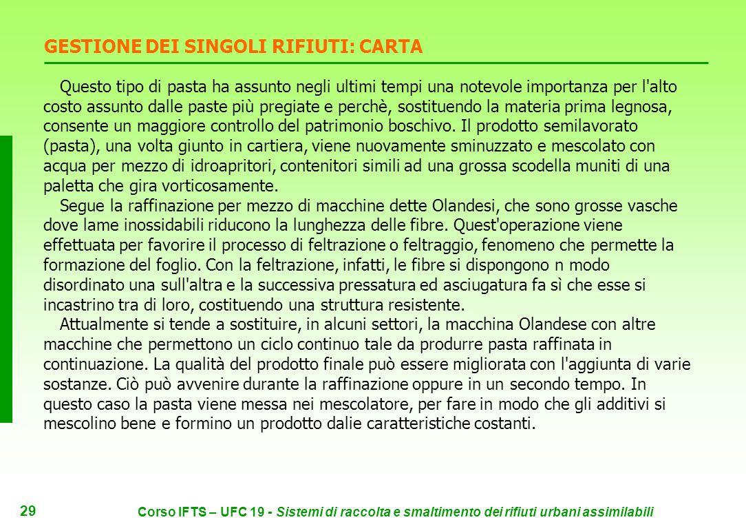 28 Corso IFTS – UFC 19 - Sistemi di raccolta e smaltimento dei rifiuti urbani assimilabili GESTIONE DEI SINGOLI RIFIUTI: CARTA La carta costituisce ci