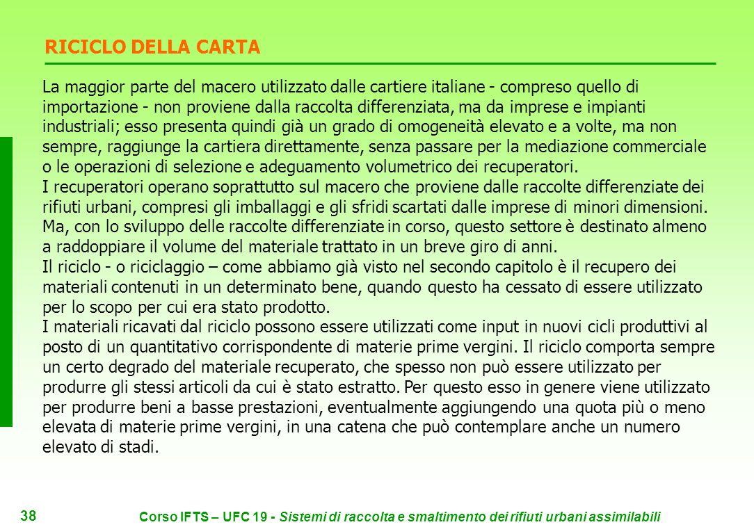 37 Corso IFTS – UFC 19 - Sistemi di raccolta e smaltimento dei rifiuti urbani assimilabili L industria cartaria italiana predilige la produzione di carta da carta.
