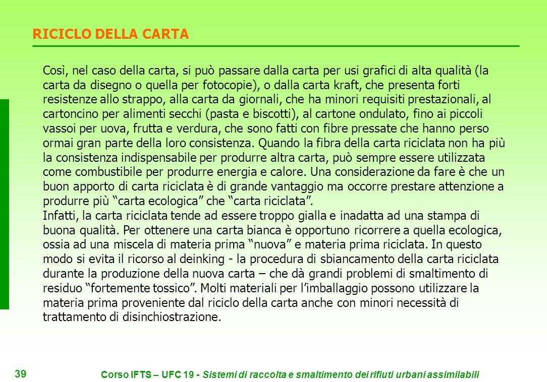 38 Corso IFTS – UFC 19 - Sistemi di raccolta e smaltimento dei rifiuti urbani assimilabili La maggior parte del macero utilizzato dalle cartiere itali