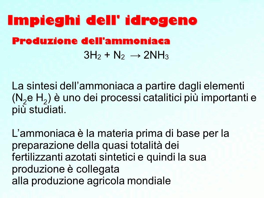 Impieghi dell' idrogeno La sintesi dellammoniaca a partire dagli elementi (N 2 e H 2 ) è uno dei processi catalitici più importanti e più studiati. La