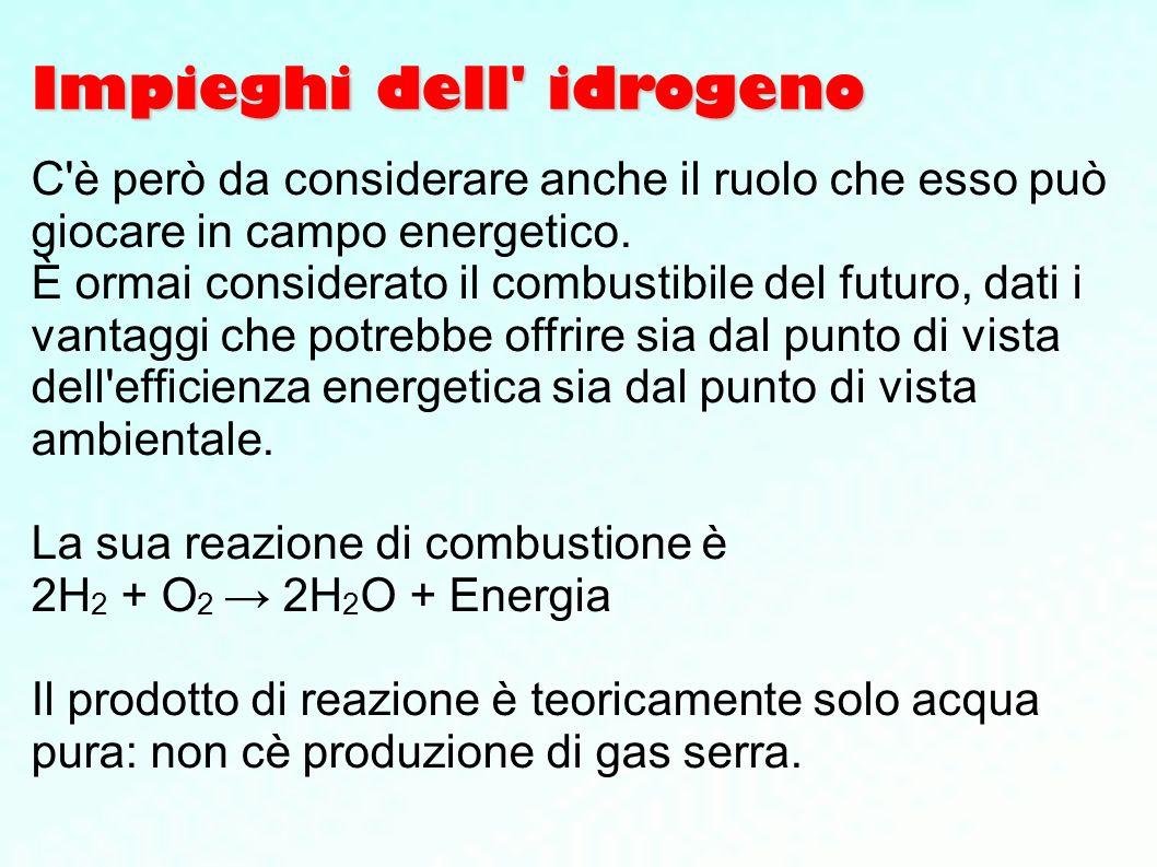 Impieghi dell' idrogeno C'è però da considerare anche il ruolo che esso può giocare in campo energetico. È ormai considerato il combustibile del futur