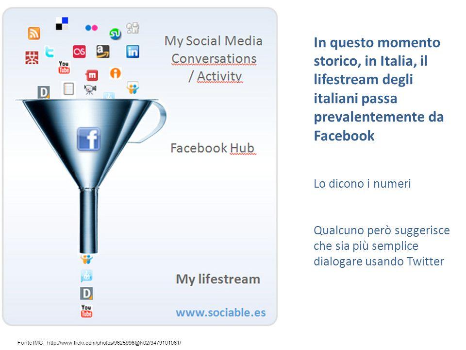 Fonte IMG: http://www.flickr.com/photos/9625996@N02/3479101061/ In questo momento storico, in Italia, il lifestream degli italiani passa prevalentemente da Facebook Lo dicono i numeri Qualcuno però suggerisce che sia più semplice dialogare usando Twitter