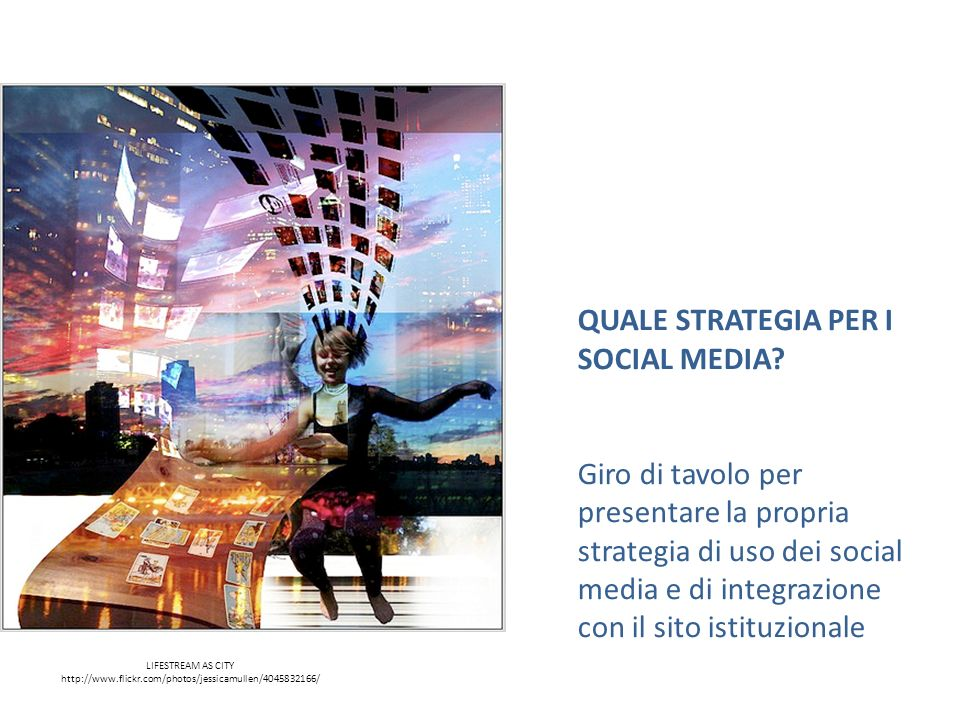 LIFESTREAM AS CITY http://www.flickr.com/photos/jessicamullen/4045832166/ QUALE STRATEGIA PER I SOCIAL MEDIA? Giro di tavolo per presentare la propria