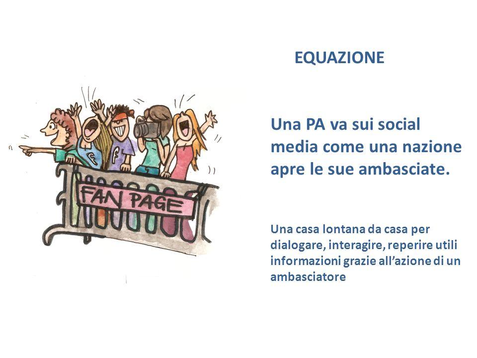 EQUAZIONE Una PA va sui social media come una nazione apre le sue ambasciate.