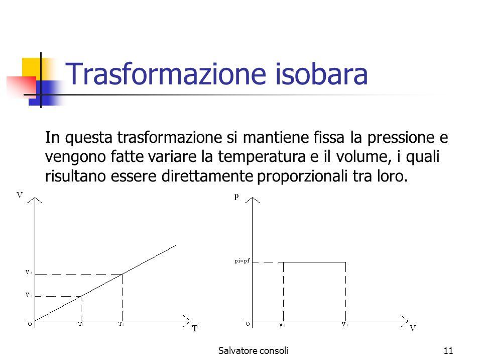 Salvatore consoli11 Trasformazione isobara In questa trasformazione si mantiene fissa la pressione e vengono fatte variare la temperatura e il volume,