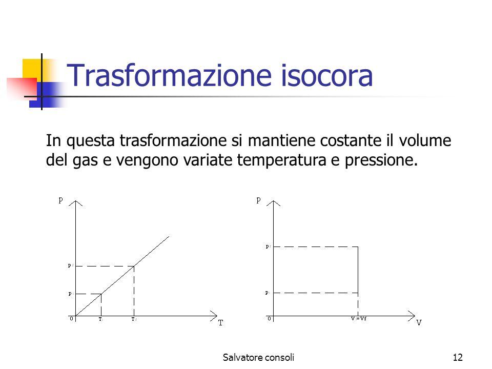 Salvatore consoli12 Trasformazione isocora In questa trasformazione si mantiene costante il volume del gas e vengono variate temperatura e pressione.