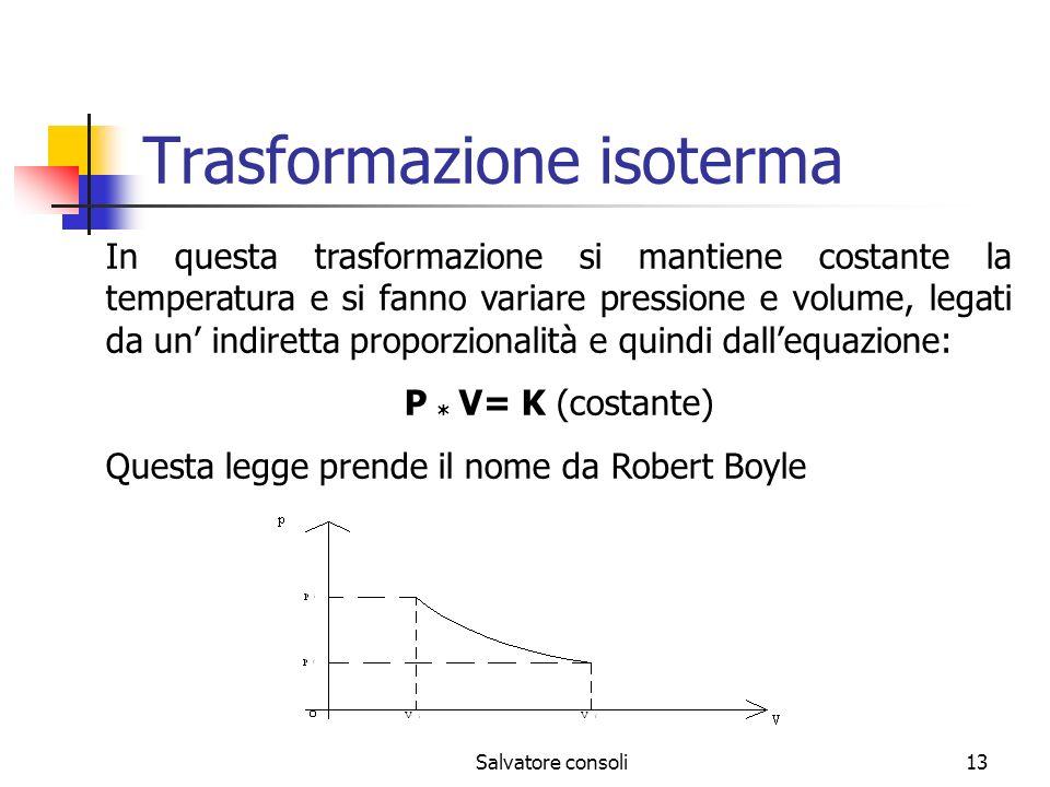 Salvatore consoli13 Trasformazione isoterma In questa trasformazione si mantiene costante la temperatura e si fanno variare pressione e volume, legati