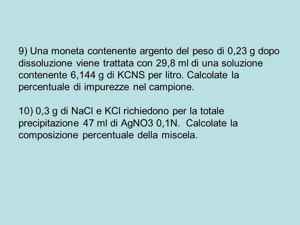 9) Una moneta contenente argento del peso di 0,23 g dopo dissoluzione viene trattata con 29,8 ml di una soluzione contenente 6,144 g di KCNS per litro