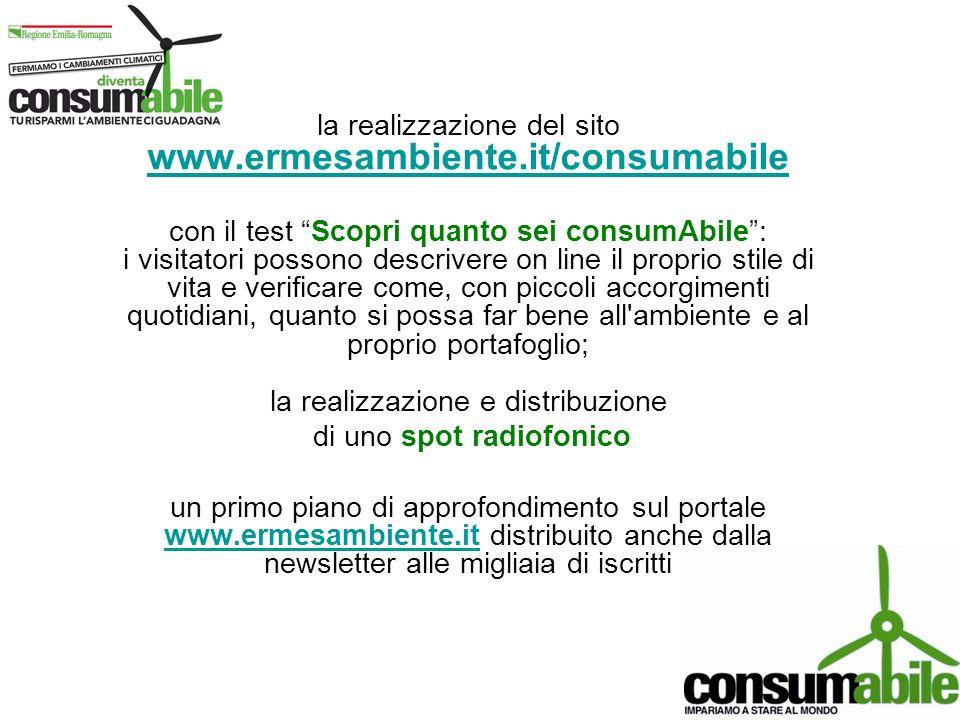 la realizzazione del sito www.ermesambiente.it/consumabile www.ermesambiente.it/consumabile con il test Scopri quanto sei consumAbile: i visitatori po