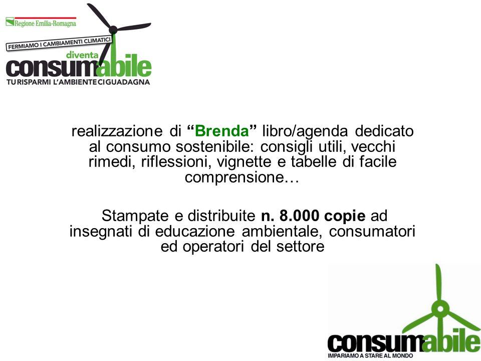 realizzazione di Brenda libro/agenda dedicato al consumo sostenibile: consigli utili, vecchi rimedi, riflessioni, vignette e tabelle di facile compren