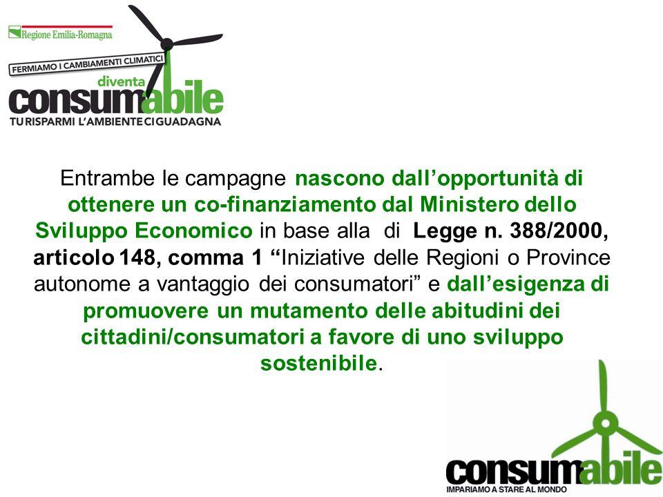Entrambe le campagne nascono dallopportunità di ottenere un co-finanziamento dal Ministero dello Sviluppo Economico in base alla di Legge n.