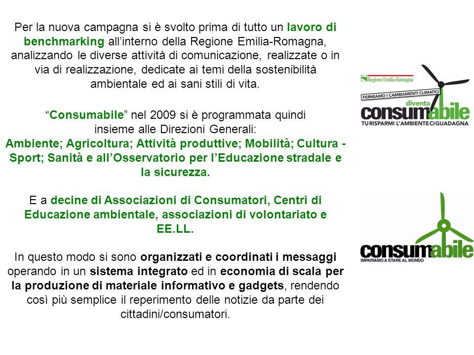 Per la nuova campagna si è svolto prima di tutto un lavoro di benchmarking allinterno della Regione Emilia-Romagna, analizzando le diverse attività di comunicazione, realizzate o in via di realizzazione, dedicate ai temi della sostenibilità ambientale ed ai sani stili di vita.