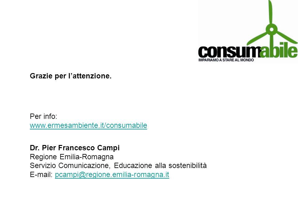 Grazie per lattenzione. Per info: www.ermesambiente.it/consumabile www.ermesambiente.it/consumabile Dr. Pier Francesco Campi Regione Emilia-Romagna Se