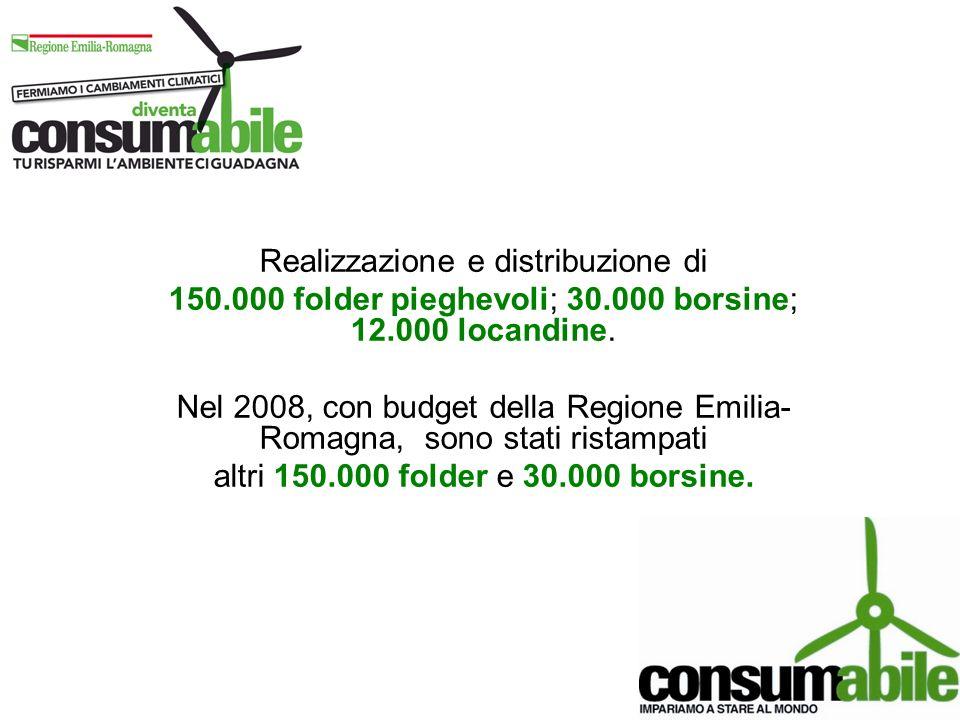 Realizzazione e distribuzione di 150.000 folder pieghevoli; 30.000 borsine; 12.000 locandine. Nel 2008, con budget della Regione Emilia- Romagna, sono