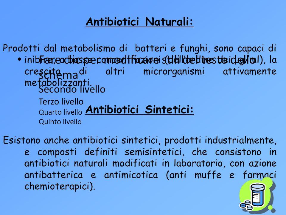 Fare clic per modificare stili del testo dello schema Secondo livello Terzo livello Quarto livello Quinto livello Antibiotici Naturali: Prodotti dal m