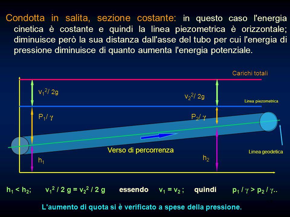 16 come quota: quota o altezza geodetica: [h] = [m]; quota o altezza piezometrica: [p / γ] = [(kg p / m 2 ) / (kg p / m 3 )] = [m]; quota o altezza ci