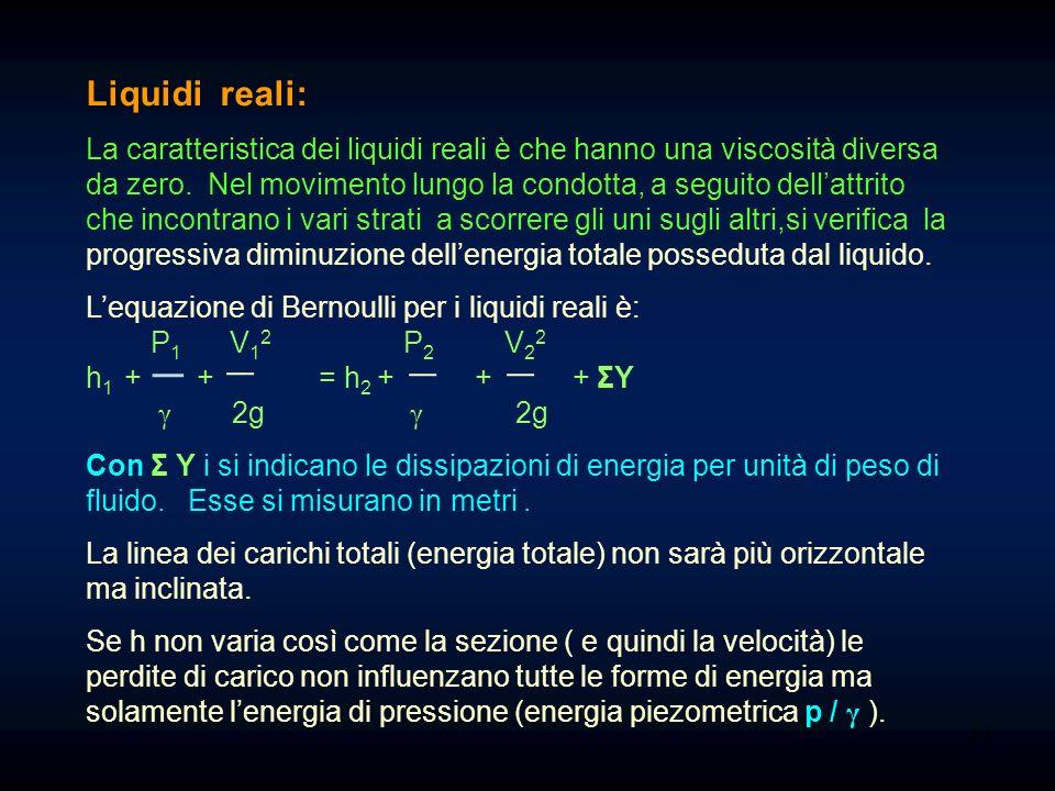 V 1 2 2g P 1 γ h 1 V 2 2 2g P 2 γ h 2 20 Condotta in discesa e diminuzione di diametro. Si ha un aumento di velocità dovuto alla strozzatura. La retta