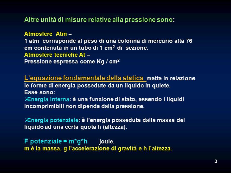 La legge di Stevin afferma che la pressione in un fluido dipende dalla profondità a cui viene misurata: P 2 = P 1 + *(h). Ovvero se due punti si trova