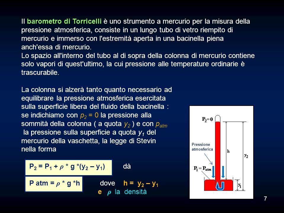 P Si può scrivere Etot:= m*g*h + m*g* (dividendo per m*g si ha:E= h + Che rappresenta lEquazione fondamentale della statica. Ogni termine rappresenta