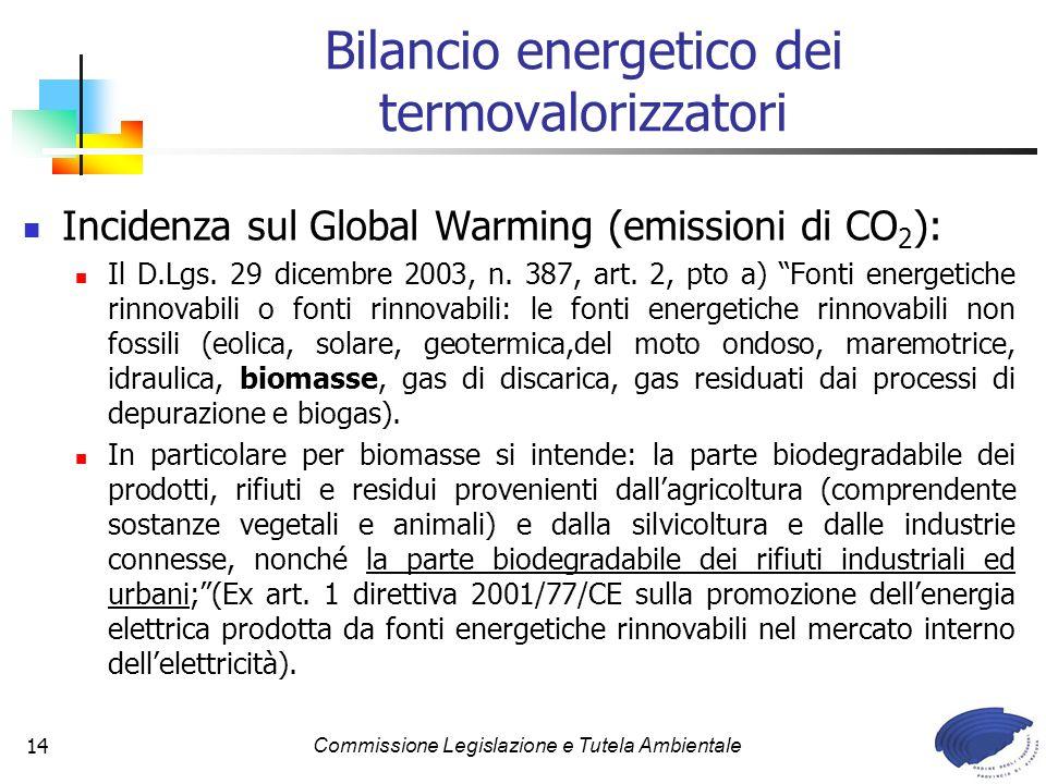 Commissione Legislazione e Tutela Ambientale14 Bilancio energetico dei termovalorizzatori Incidenza sul Global Warming (emissioni di CO 2 ): Il D.Lgs.