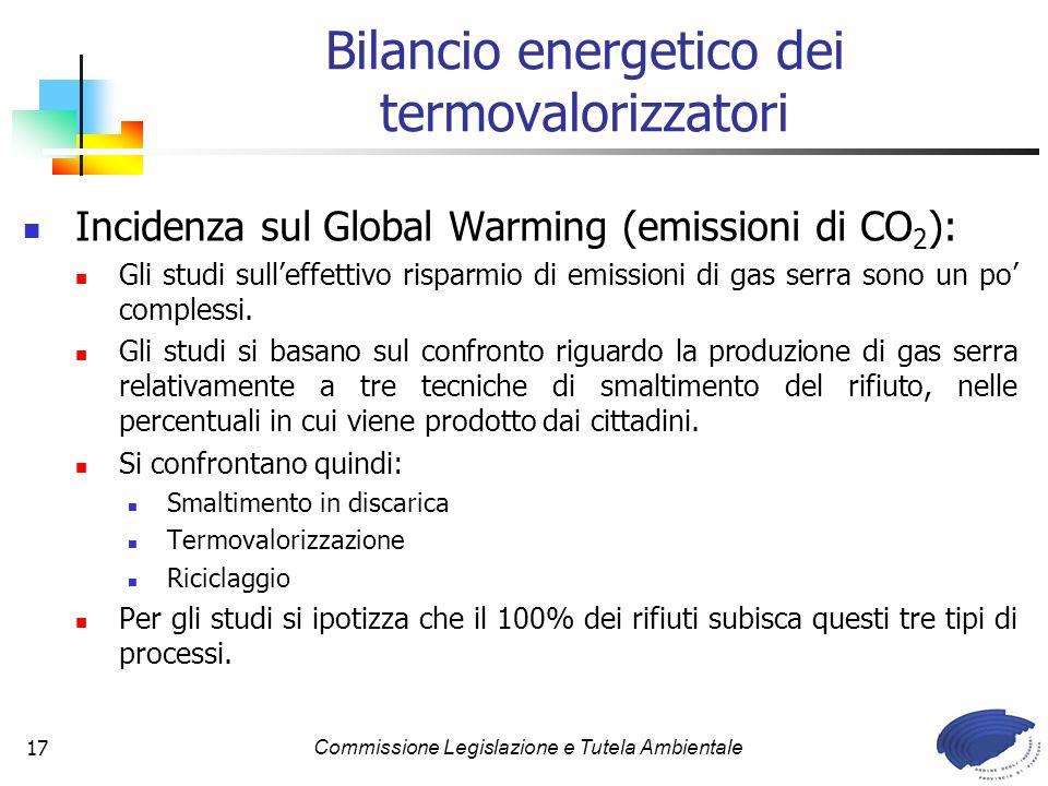 Commissione Legislazione e Tutela Ambientale17 Bilancio energetico dei termovalorizzatori Incidenza sul Global Warming (emissioni di CO 2 ): Gli studi sulleffettivo risparmio di emissioni di gas serra sono un po complessi.