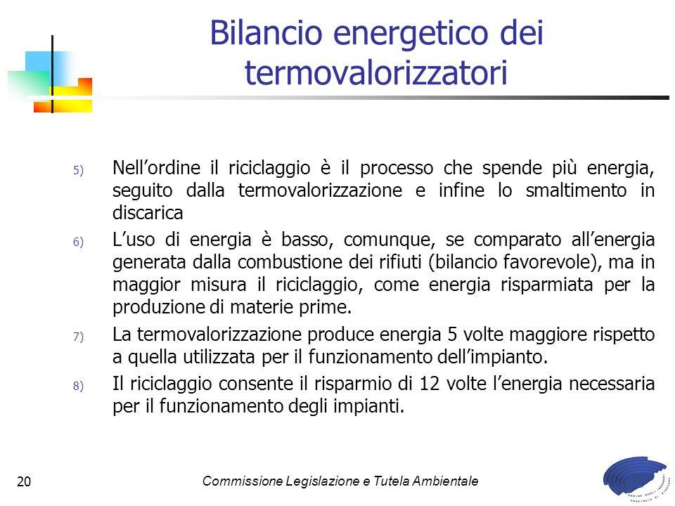 Commissione Legislazione e Tutela Ambientale20 Bilancio energetico dei termovalorizzatori 5) Nellordine il riciclaggio è il processo che spende più energia, seguito dalla termovalorizzazione e infine lo smaltimento in discarica 6) Luso di energia è basso, comunque, se comparato allenergia generata dalla combustione dei rifiuti (bilancio favorevole), ma in maggior misura il riciclaggio, come energia risparmiata per la produzione di materie prime.