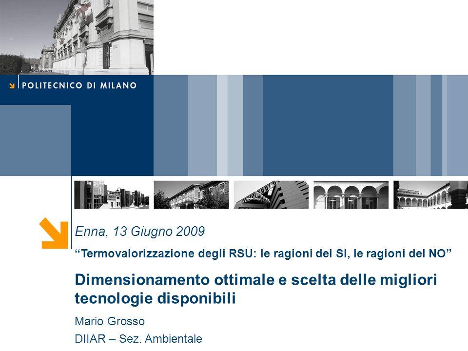 Enna, 13 Giugno 2009 Termovalorizzazione degli RSU: le ragioni del SI, le ragioni del NO Dimensionamento ottimale e scelta delle migliori tecnologie disponibili Mario Grosso DIIAR – Sez.