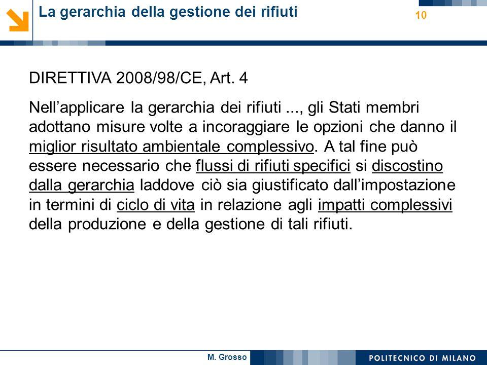 M. Grosso 10 La gerarchia della gestione dei rifiuti DIRETTIVA 2008/98/CE, Art. 4 Nellapplicare la gerarchia dei rifiuti..., gli Stati membri adottano
