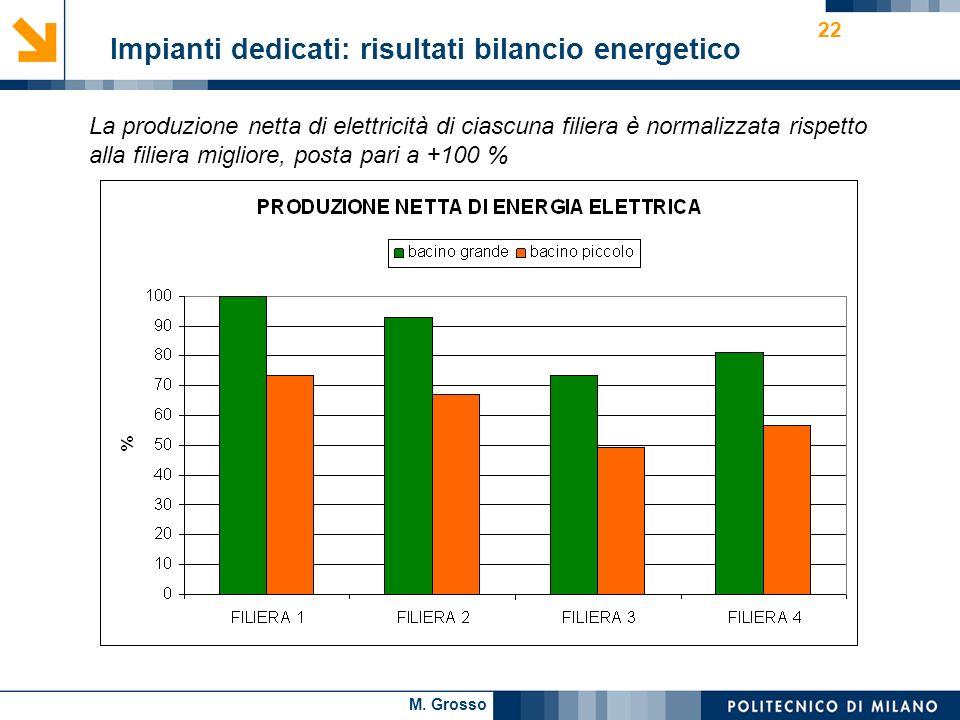 M. Grosso 22 Impianti dedicati: risultati bilancio energetico La produzione netta di elettricità di ciascuna filiera è normalizzata rispetto alla fili