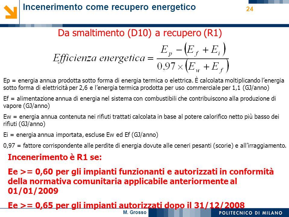 M. Grosso 24 Da smaltimento (D10) a recupero (R1) Ep = energia annua prodotta sotto forma di energia termica o elettrica. È calcolata moltiplicando le