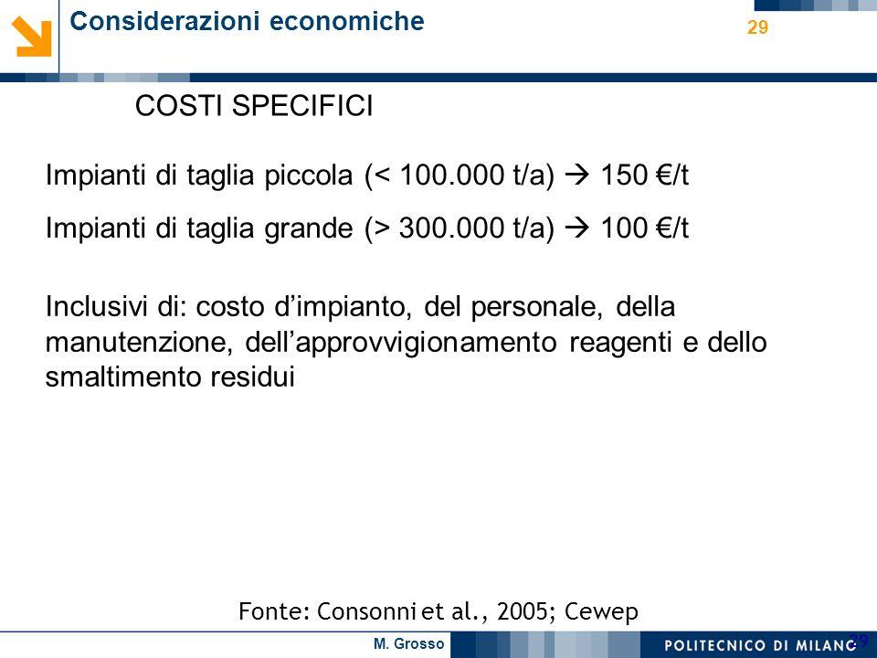 M. Grosso 29 Fonte: Consonni et al., 2005; Cewep COSTI SPECIFICI Considerazioni economiche Impianti di taglia piccola (< 100.000 t/a) 150 /t Impianti