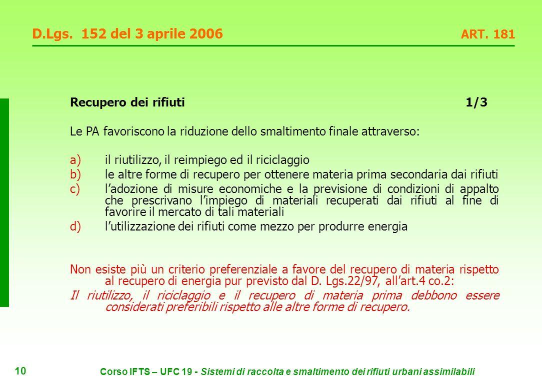 9 Corso IFTS – UFC 19 - Sistemi di raccolta e smaltimento dei rifiuti urbani assimilabili D.Lgs.