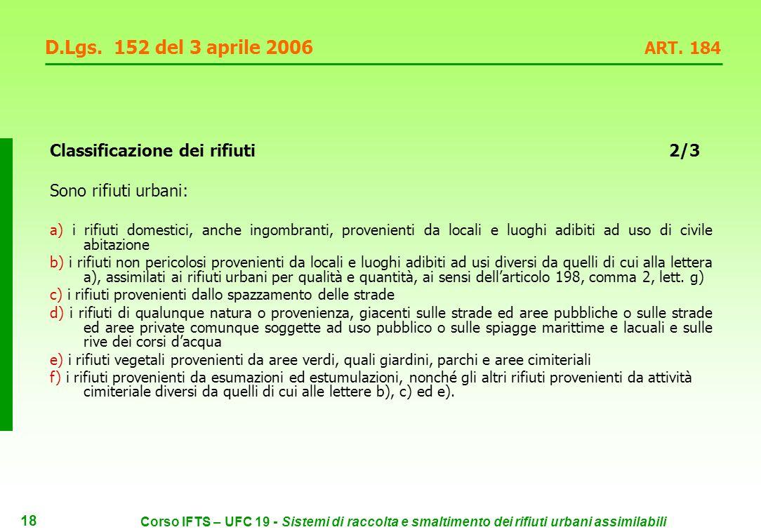 17 Corso IFTS – UFC 19 - Sistemi di raccolta e smaltimento dei rifiuti urbani assimilabili D.Lgs.