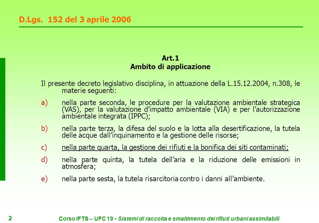1 Corso IFTS – UFC 19 - Sistemi di raccolta e smaltimento dei rifiuti urbani assimilabili Legge 308 del 15 dicembre 2004 cd.