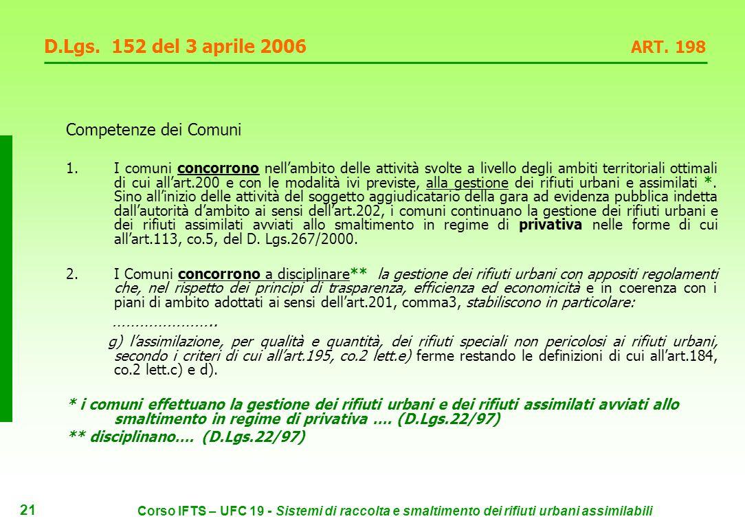 20 Corso IFTS – UFC 19 - Sistemi di raccolta e smaltimento dei rifiuti urbani assimilabili D.Lgs.