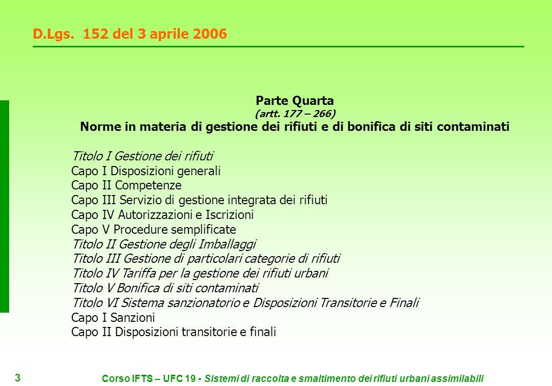 13 Corso IFTS – UFC 19 - Sistemi di raccolta e smaltimento dei rifiuti urbani assimilabili D.Lgs.