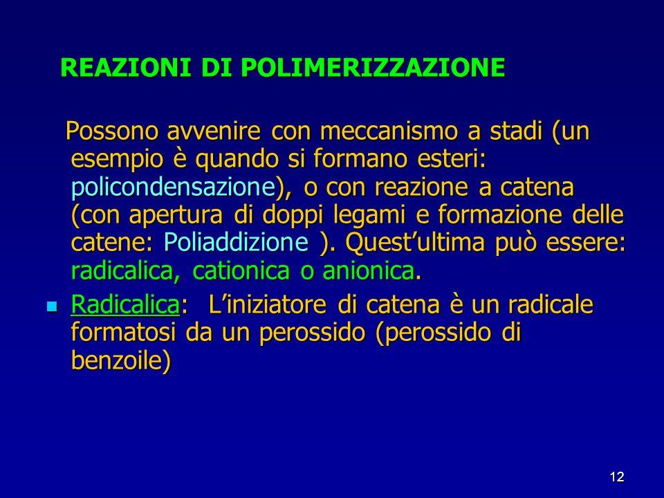12 REAZIONI DI POLIMERIZZAZIONE REAZIONI DI POLIMERIZZAZIONE Possono avvenire con meccanismo a stadi (un esempio è quando si formano esteri: policonde