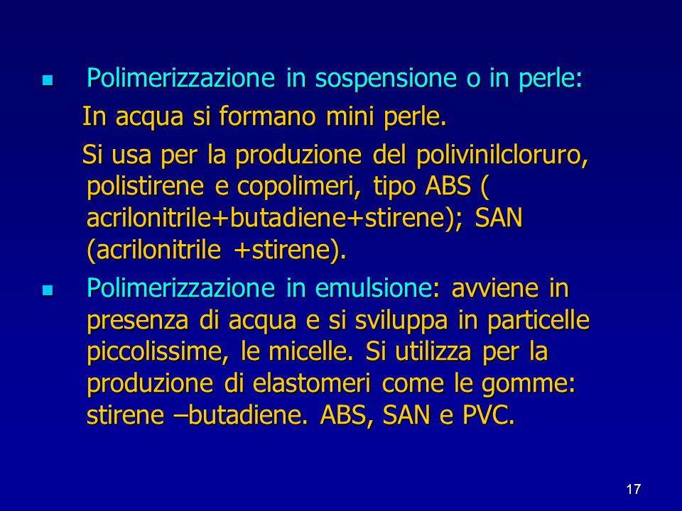 17 Polimerizzazione in sospensione o in perle: Polimerizzazione in sospensione o in perle: In acqua si formano mini perle. In acqua si formano mini pe