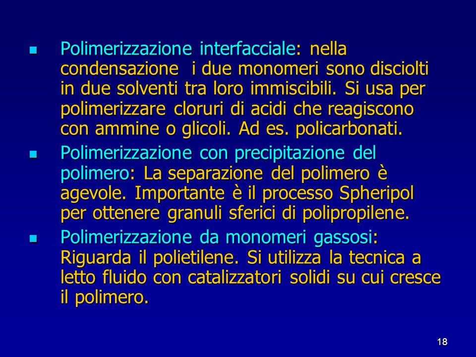 18 Polimerizzazione interfacciale: nella condensazione i due monomeri sono disciolti in due solventi tra loro immiscibili. Si usa per polimerizzare cl