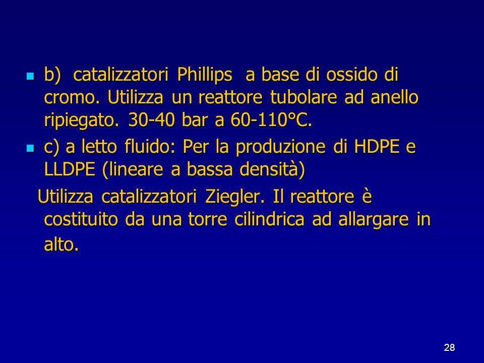 28 b) catalizzatori Phillips a base di ossido di cromo. Utilizza un reattore tubolare ad anello ripiegato. 30-40 bar a 60-110°C. b) catalizzatori Phil
