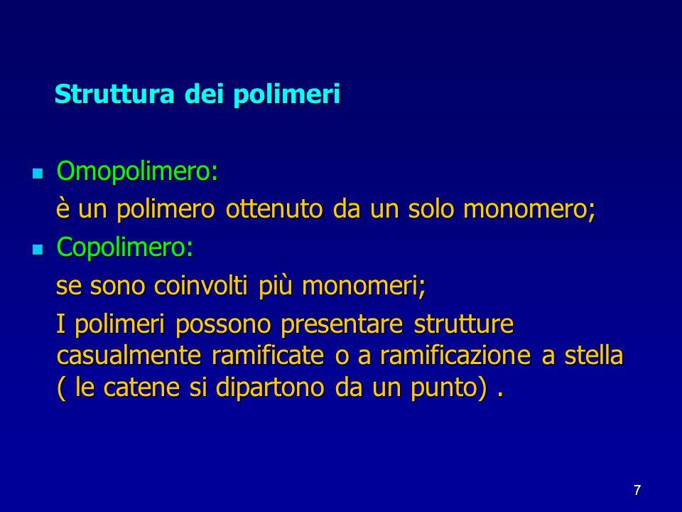 7 Struttura dei polimeri Struttura dei polimeri Omopolimero: Omopolimero: è un polimero ottenuto da un solo monomero; è un polimero ottenuto da un sol